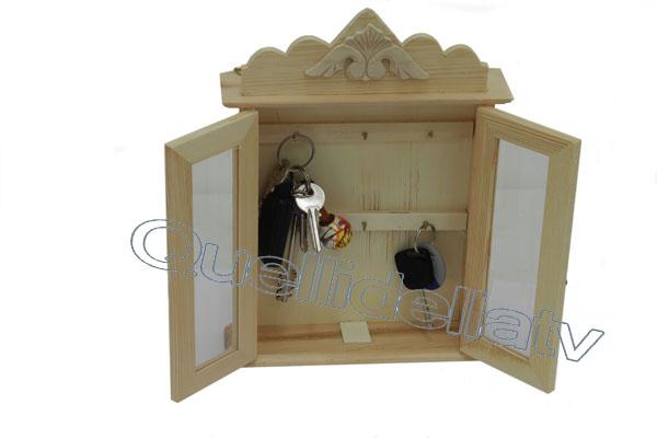 Cassetta porta chiavi 6 posti legno box portachiavi parete - Portachiavi da parete ...