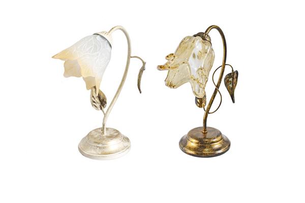Lumetto lampada da comodino abat jour e14 lume in vetro for Lumetti da comodino