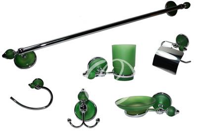 Set bagno 6 pezzi moderno in acciaio cromato vetro satinato verde accessori bagno - Accessori bagno verde ...