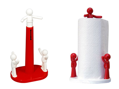 Portarotolo da cucina verticale in plastica con omini che bloccano il rotolo scottex idea regalo - Portarotolo cucina verticale ...