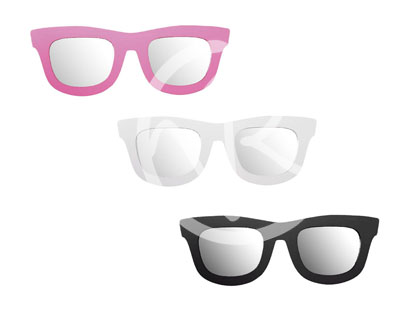 Specchio a muro a forma di occhiali da sole in plastica per cameretta colorato vintage - Occhiali per truccarsi allo specchio ...