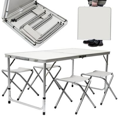 Tavolo da campeggio pieghevole in valigetta con 4 sgabelli for Tavolo plastica pieghevole