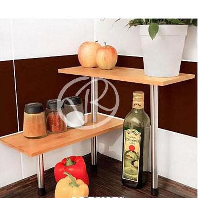 2 mensole da cucina in legno bamboo ripiani angolari appoggio ...