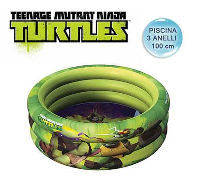 Piscina gonfiabile tartarughe ninja 100 cm per bambini for Piscina per tartarughe