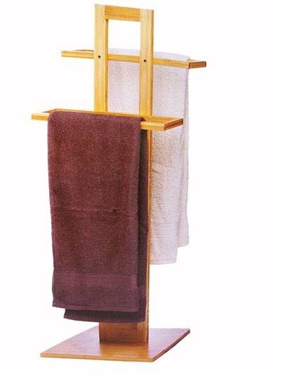 Porta asciugamani piantana in legno bamboo 2 braccia da - Amazon porta asciugamani da terra ...