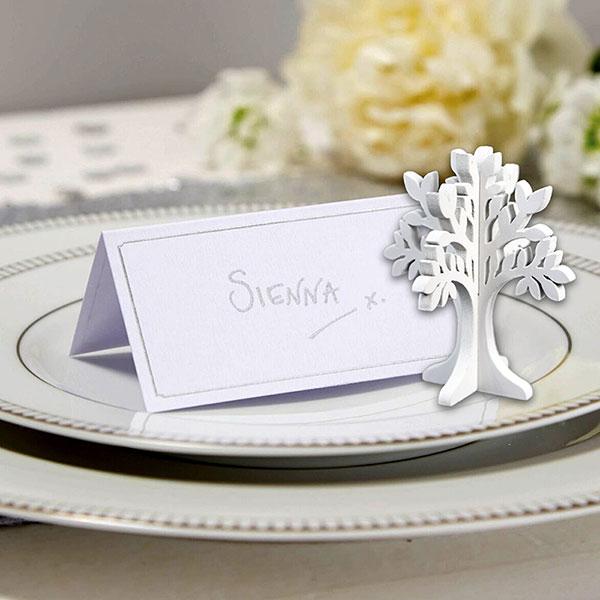 Segnaposto Matrimonio Semplici.Segnaposto Albero Della Vita 24 Pz Legno Bianco Shabby Decorazione