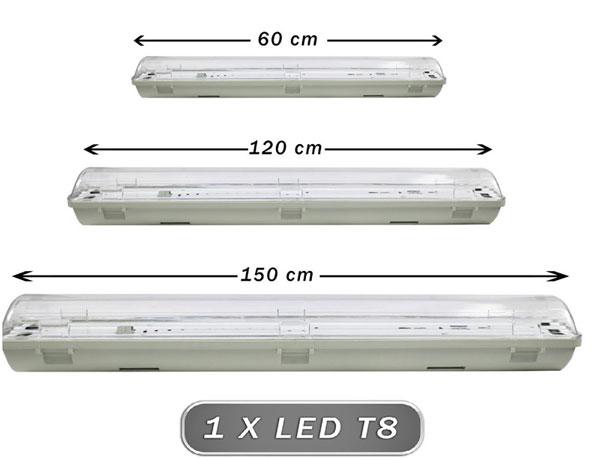 PLAFONIERA STAGNA IP65 LED PER ESTERNO 60CM DA ESTERNO E INTERNO DOPPIA T8 G13