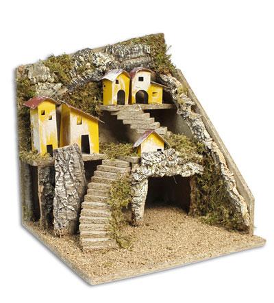 Ambientazione presepe natalizio villaggio con grotta scale in