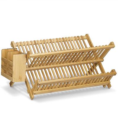 2 ripiani scolapiatti per la casa e la cucina Scolapiatti in bamb/ù scolapiatti e posate pieghevole in legno